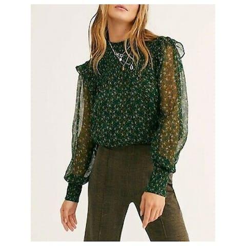 FREE PEOPLE Womens Green Printed Long Sleeve Peplum Top Size XS
