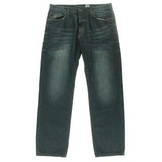 Rocawear Mens Flame Stitch Core Jean Classic-Rise Straight Leg Jeans