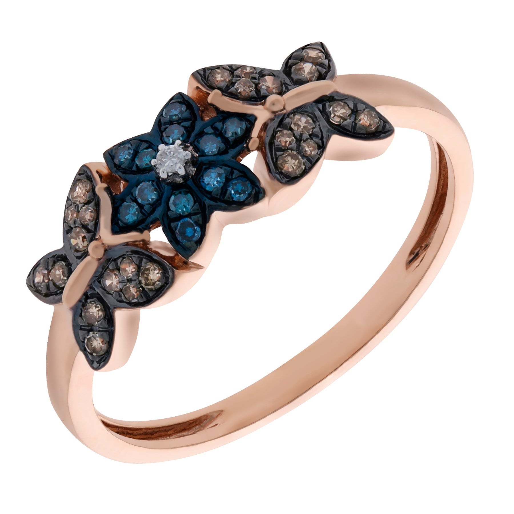 Prism Jewel 0.26 Carat Blue & Brown Color Diamond Butterfly Style Ring - White G-H - Thumbnail 0