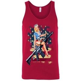 Men's Tank Top USA Flag Pride Pin-Up Girl on Machine Gun Rifle 2nd Amendment