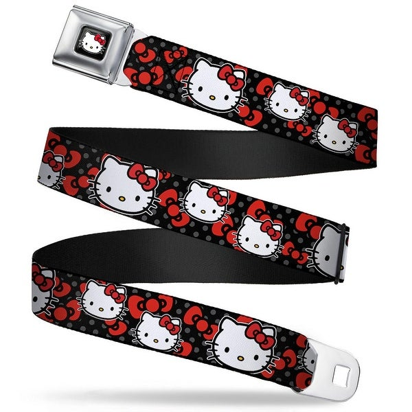 Hello Kitty W Red Bow Full Color Black Hello Kitty Multi Face W Mini Dots Seatbelt Belt