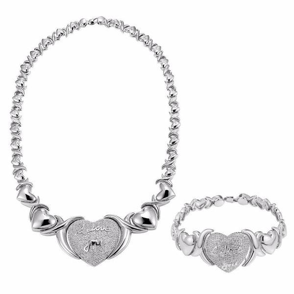 XOXO Link Necklace Matching Heart Bracelet Lab Diamond I Love You Set
