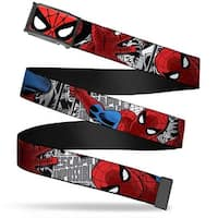Marvel Comics Spider Man Face Close Up Fcg  Chrome Spider Man Action Web Belt