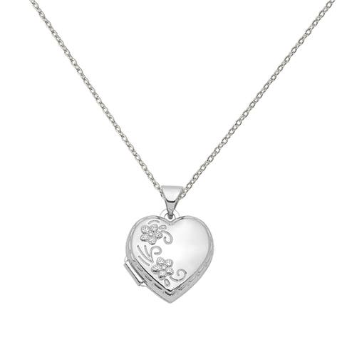 Sterling Silver Rhodium-plated 15mm Love You Always Heart Locket with 18-inch Cable Chain by Versil