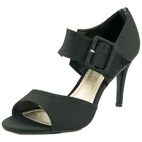 Impo Trinity Women Open-Toe Canvas Black Heels