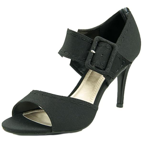 Impo Trinity Women Open-Toe Canvas Black Heels