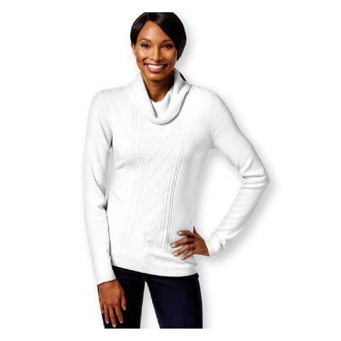 Karen Scott Petite Luxsoft White Turtleneck Cable-Knit Sweater (PL) - L