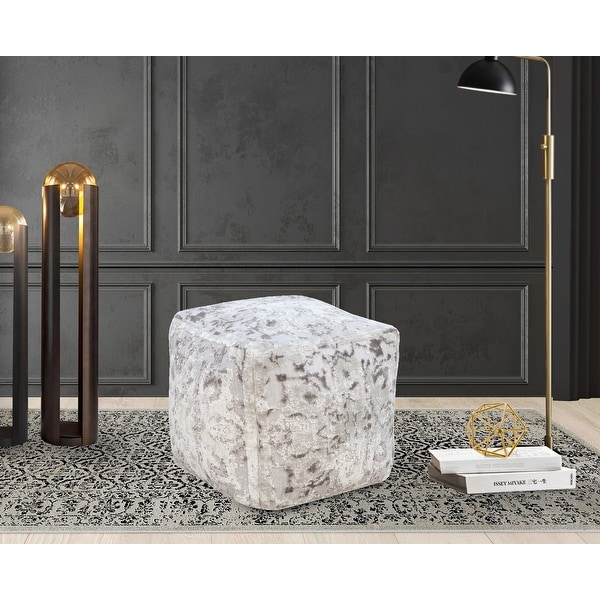 Chic Home Adara Ottoman Viscose Upholstered Two Tone Square Pouf. Opens flyout.