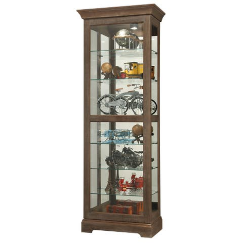 Howard Miller Martindale IV Contemporary Modern, Transitional, Rich Aged Solid Wood, Tall, 7-Shelf Living Room Curio Cabinet