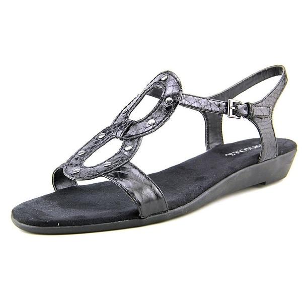 Aerosoles Atomic Women Open Toe Synthetic Black Wedge Sandal