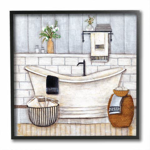 Stupell Industries Bathroom Farmhouse Style Tub Neutral Grey Drawing, 12x12, Framed Wall Art - Blue