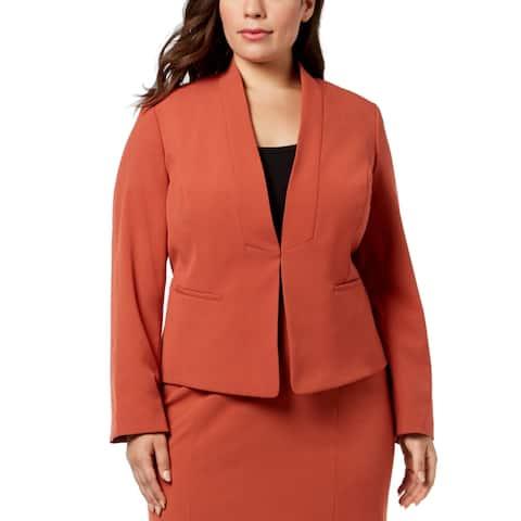 Nine West Womens Jacket Orange Size 18W Plus Stand-Collar Kiss Front