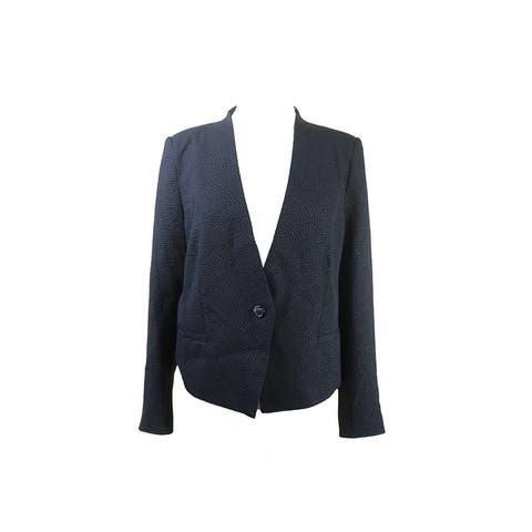 Kensie Black Textured Dot Jacket L - lg (us 12)