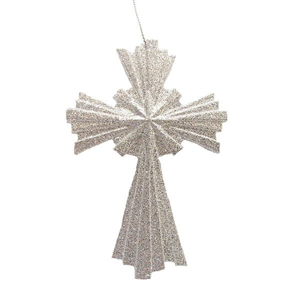 Silver Glitter Cross Christmas Ornament