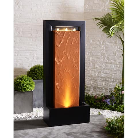 "Leonard Lit Indoor/Outdoor Rust and Black Fountain - 10"" x 20"" x 47.5"""