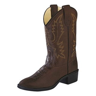Old West Cowboy Boots Boys Girls Kids Round TPR Sole Brown Canyon 1134
