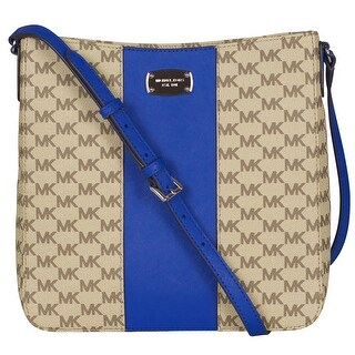 Michael Kors Large Electric Blue Center Stripe Travel Messenger Handbag