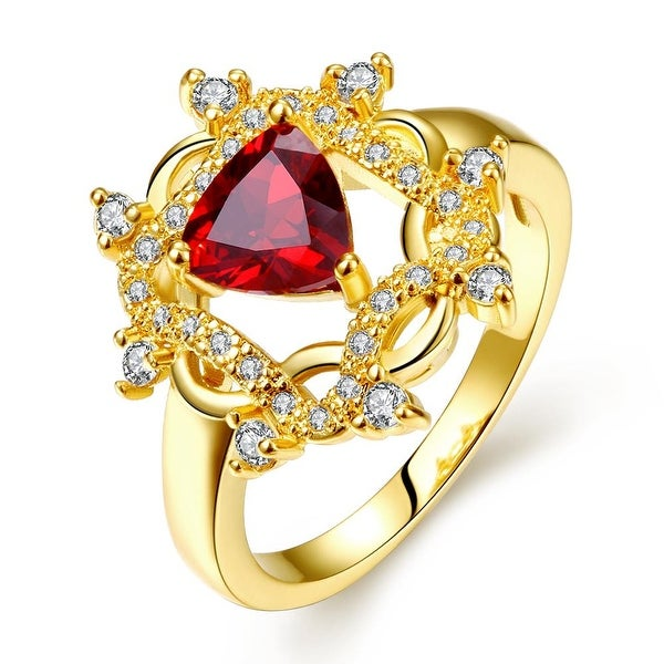 Gold Plated Roman Design Inspired Ruby Ring