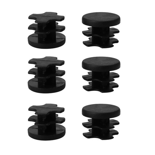 "6pcs 16mm OD Plastic Round Tube Insert Rib Pipe Cover Black Floor Furniture Feet Protector, for 0.55""-0.63"" Inner Dia"