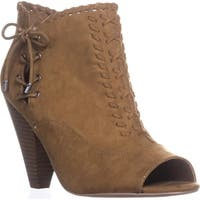 Indigo Rd. Finn Peep-Toe Ankle Booties, Dark Natural