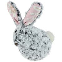 """6.5"""" Plush Gray and White Pink Floral Rabbit Easter Spring Decoration"""