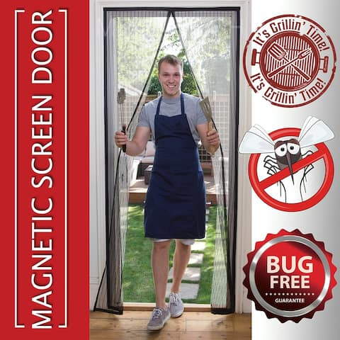 Magnetic Screen Door Net Anti Mosquito Magic Mesh Hands-Free Bug Curtain Patio - Silver - M