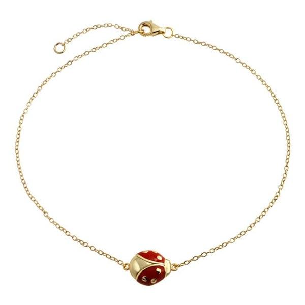 e7c731775 Red Ladybug Garden Charm Anklet Link Ankle Bracelet 14k Gold Plated 925  Sterling Silver 9 to