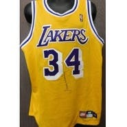 Signed Worthy James Los Angeles Lakers authentic Shaquille ONeal Los Angeles Jersey size 48 on the