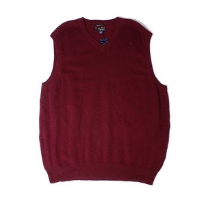 Club Room NEW Red Mens Size Small S V-Neck Cashmere Vest Sweater