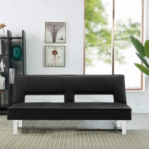 Futon Sofa Bed Sleeper(Black PU)
