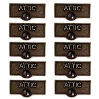 10 Switch Plate Tags ATTIC Name Signs Labels Cast Brass