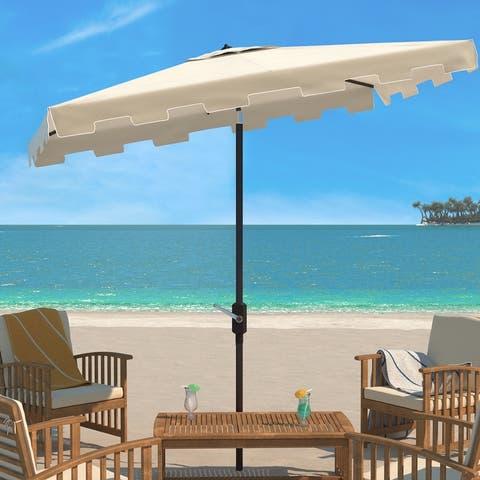 SAFAVIEH Outdoor Living Zimmerman 6.5 x 10 Ft Rectangle Market Umbrella