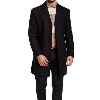 IKE BEHAR NEW Black Mens Size 46R Batista Herringbone Wool Coat