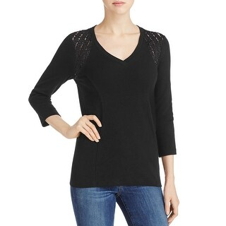 Three Dots Womens Casual Top Lace Shoulders 3/4 Sleeves