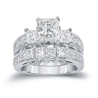 Auriya 14k Gold 3ctw Princess-cut 3-stone Diamond Engagement Ring Set