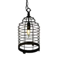 Vintage Industrial Black Metal Wire Cage Pendant Lamp 14 Inch