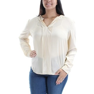 ANNE KLEIN $99 NEW Womens 1498 Ivory V Neck Long Sleeve Wear To Work Top 14 B+B
