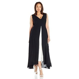 Adrianna Papell Women's Plus Size Color blocked Overlay Culottes Jumpsuit