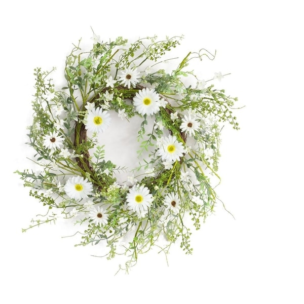 Pack of 2 White and Green Springtime Artificial Gerbera Daisy Wreath 22""