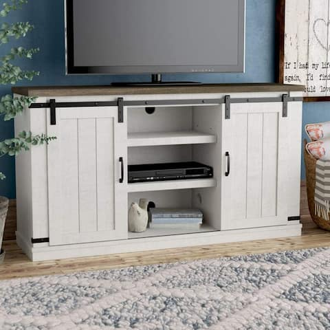 Bli Barn Door TV Stand for 60 Inch With Cable Management,Gray