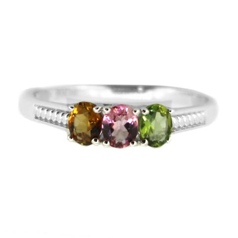 925 Sterling Silver Mutli Color Tourmaline 3-Stone Ring