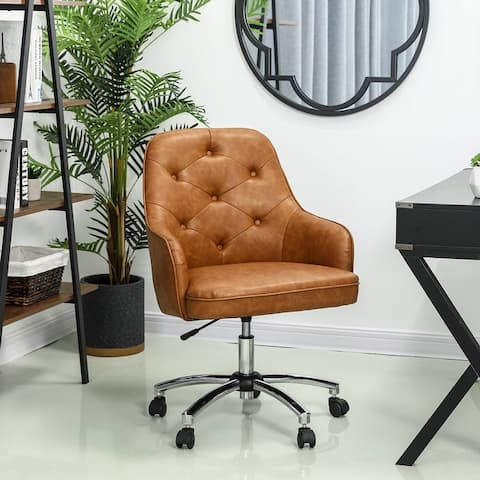 "Glitzhome 40""H Camel Bonded Leather Gaslift Adjustable Swivel Office or Desk Chair"