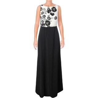Carmen Marc Valvo Womens Evening Dress Embroidered Beaded