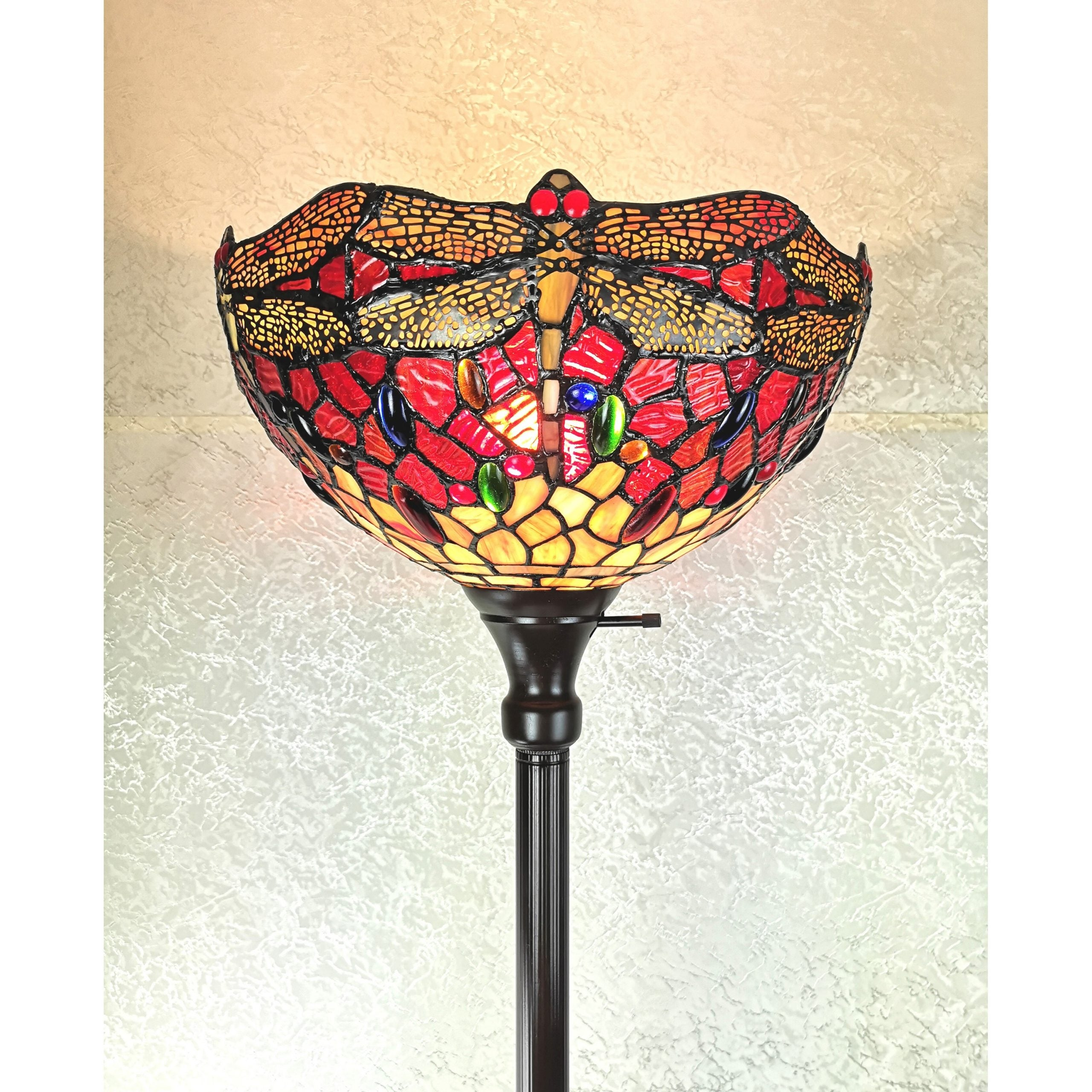 Shop Black Friday Deals On Tiffany Style Floor Lamp Torchiere Standing 72 Tall Stained Glass White Dragonfly Bedroom Reading Am040fl14b Amora Lighting Overstock 28389540