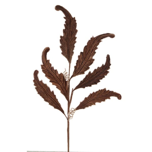 Pack of 12 Brown Glittered Velvet and Polyester Acanthus Leaf Spray 30""