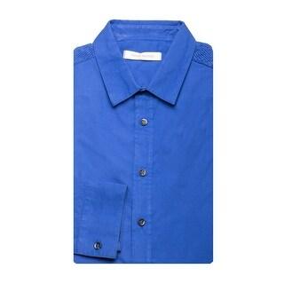 Pierre Balmain Men's Modern Collar Cotton Dress Shirt Blue