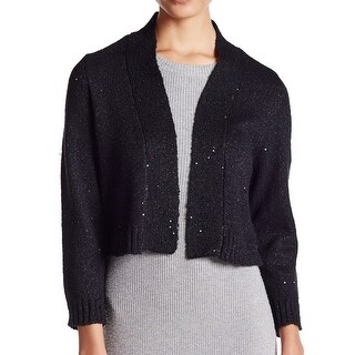 Calvin Klein NEW Black Women's Size Large L Shrug Wool Sequin Sweater