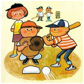 """Marmont Hill MH-KIDCUR-59-C-32 32 Inch x 32 Inch """"Baseball Team"""" Giclee Art Print on Stretched Canvas by Curtis - 32 x 32"""