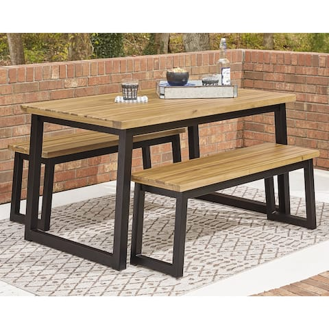 Town Wood Brown/Black Dining Table Set, 3 Count