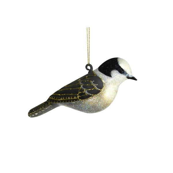 4.5 Glittery Silver and Gray Jay Hanging Glass Ornament - N/A